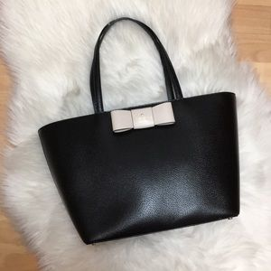 Kate Spade Black Pebbled Leather Bow Tote